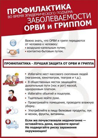 Профилактика во время эпидемического подъема заболеваемоости ОРВИ и гриппом